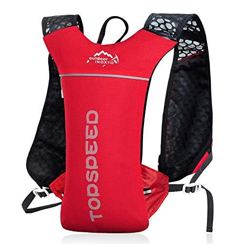 UTOBEST ハイドレーションリュック ランニングバッグ サイクリングリュック スポーツバッグ ウォーキング用バッグ マラソン ジョギング トレイルランニング 超軽量 自転車リュック 5L 3色選び (レッド)