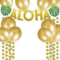 ゴールドGlittery Aloha Green Leaves Garland with Gold Glitter円ドットのバルーンとゴールドハワイアンTropical Luauビーチ夏パーティーDecoration Supplies