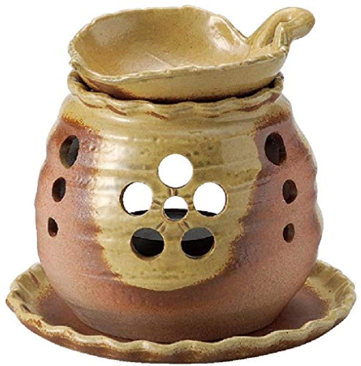 に向かって時代闇常滑焼 7-228 遊土里黄灰釉木の葉茶香炉 遊土里φ10×H10.5㎝