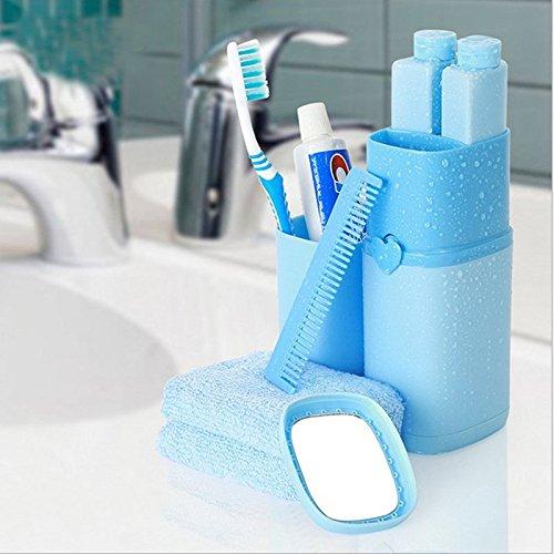 Feili 洗面用具 5点セット 旅行備品 収納 かわいい 歯磨きコップ シャンプーボトル シャワージェルボトル くし 鏡 1本に収納 アウトドア ホテル 出張用 (ブルー)