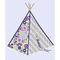 Bacati – 植物パープルKid 's折りたたみ式Teepee再生テント4つStrong竹極