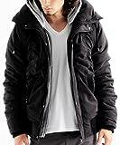 ボリュームネック中綿ジャケット ブルゾン シャーリング メンズ Mサイズ ブラック