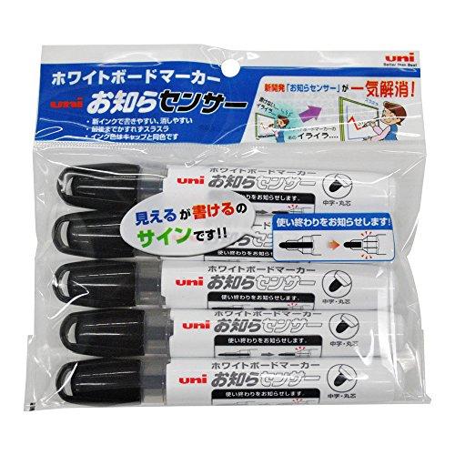三菱鉛筆 ホワイトボードマーカー お知らセンサー 中字 丸芯 PWB1204M5P.24 黒 5本
