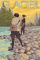 レディースFly Fishing–グレイシャー国立公園、MT 24 x 36 Signed Art Print LANT-13685-710