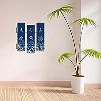 装飾壁フック3個メタルキーホルダー100 % MDFマウントHangingホーム装飾、Perfect for Foyers玄関、ドアコート帽子タオルスカーフバッグスノーフレークNavyブルー冬クリスマスサンタクロースマルチV