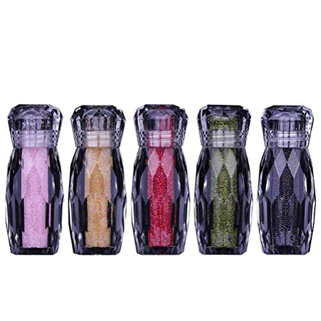 かんたん叫ぶ流Lurrose 5ピースネイルアートラインストーンキットdiyの光沢のあるラインストーンダイヤモンドビーズ用ネイルアートの装飾用品