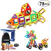 CONDIS マグネットブロック 磁気おもちゃ 子ども 磁石ブロック76個 他の車輪2個 図形 組み立て 想像力と創造力を育てる 積み木 男の子 女の子 ゲーム モデルDIY 立体パズル 子供オモチャ 収納ケース付き