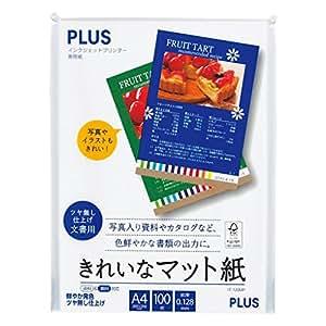 プラス コピー用紙 インクジェット用紙 きれいなマット紙 100枚入 A4判 IT-120MP 46-131
