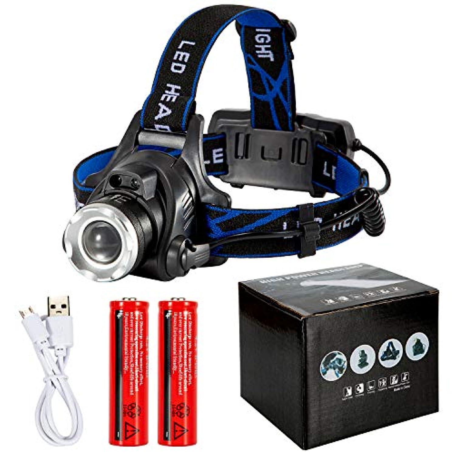 口乳白色艶ヘッドランプ - ハンズフリー、防水、明るい光、最大72時間の常時光、軽量、屋外用に最適なヘッドランプUSB充電式懐中電灯スマートウェーブセンサー