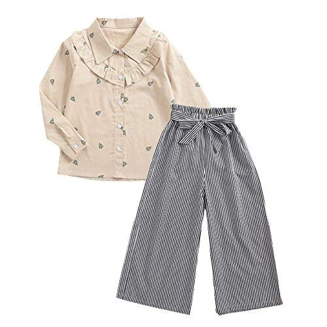 データベース休憩誓うqighaima ラッフル 女の子 セット ファッション ストライプ パンツ+トップ バンドル 柔らかい コスチューム Tシャツ+パンツ