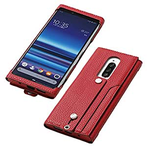 Deff(ディーフ) Xperia 1 PU レザーケース SO-03L SOV40 Made for Xperia取得 clings SLIM HAND STRAP CASE for Xperia 1 サイドセンス対応 ハンドストラップ カード入れポケット付き (レッド)