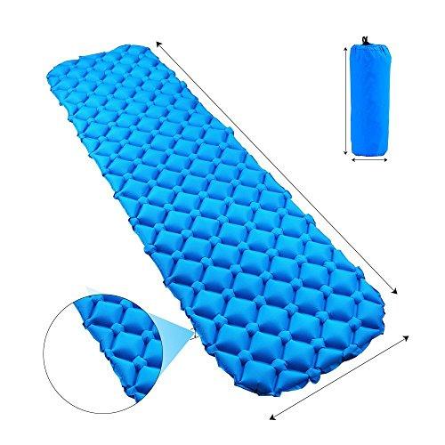 エアーマット エアーベッド キャンプマット 超軽量 寝袋 マットパッド エアークッション防水フローティングunifly (ブルー)