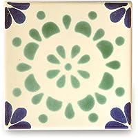 【B'stile】絵画のような壁タイル「メキシコタイル」M215-4(陶器質|100mm角|屋外壁/屋内壁用)1枚