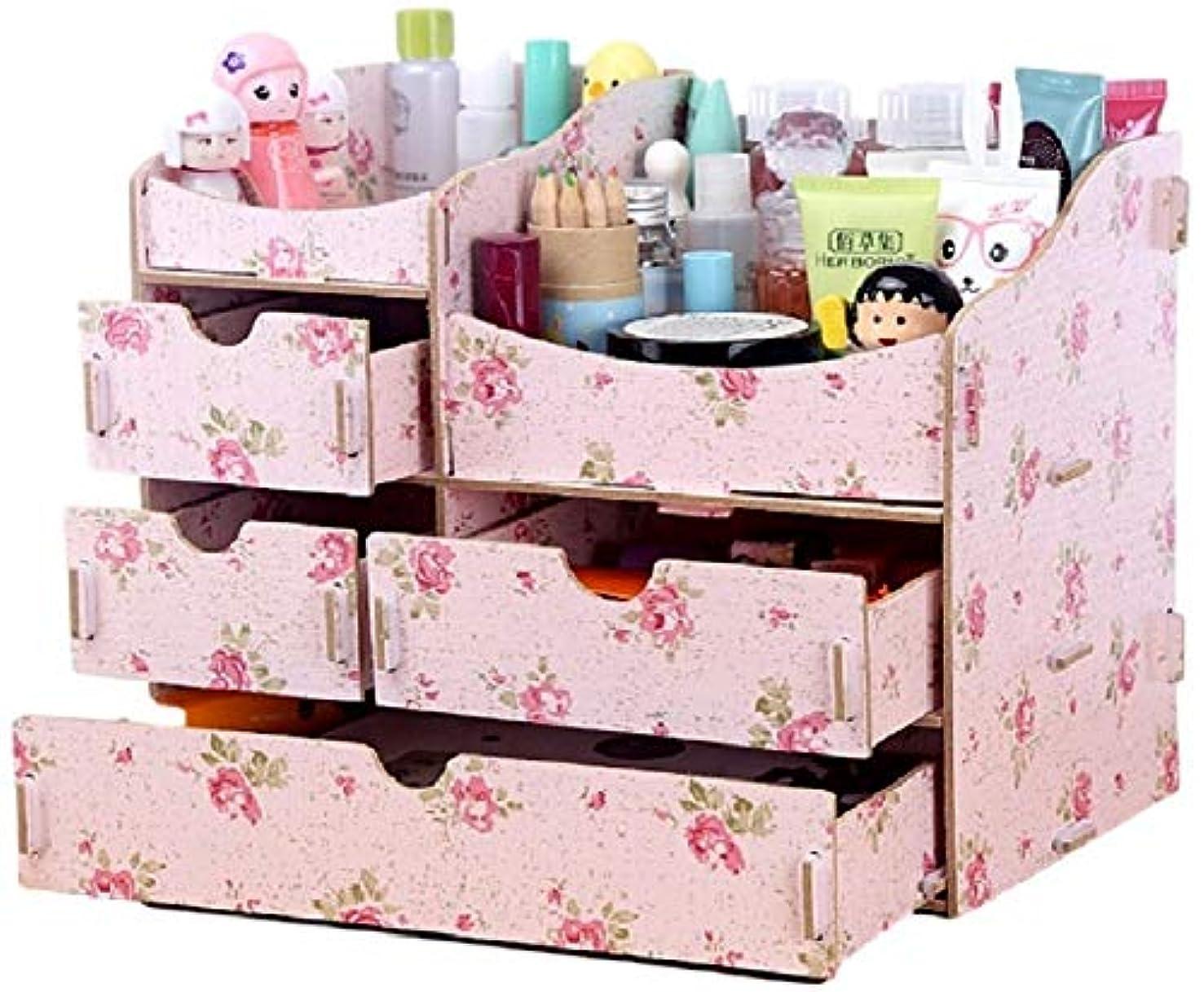 バレーボールバルコニー敬礼(ミウォルナ) Miwoluna 化粧品 コスメ ジュエリー 収納 ボックス スタンド メイクボックス 木製 組み立て式 (鏡なし ツバキ)