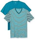Amazon Essentials (アマゾン エッセンシャルズ) メンズ Tシャツ AE181156, ティールホワイト ストライプ/ティール, S〈日本サイズM相当〉