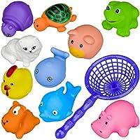 お風呂用おもちゃ 水遊び 人形すくい バストイ 動物10点セット 色指定不可 収納ネット付き 子供知育玩具 赤ちゃん出産祝い