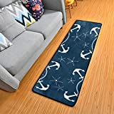 Retro Nautical Anchors Navy Kitchen Rugs Non-Slip Soft Doormats Bath Carpet Floor Runner Area Rugs for Home Dining Living Roo