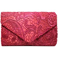 Fanspack Womens Clutch Purse Envelope Lace Evening Handbag Party Wedding Purse Crossbody Bag with Chain Strap