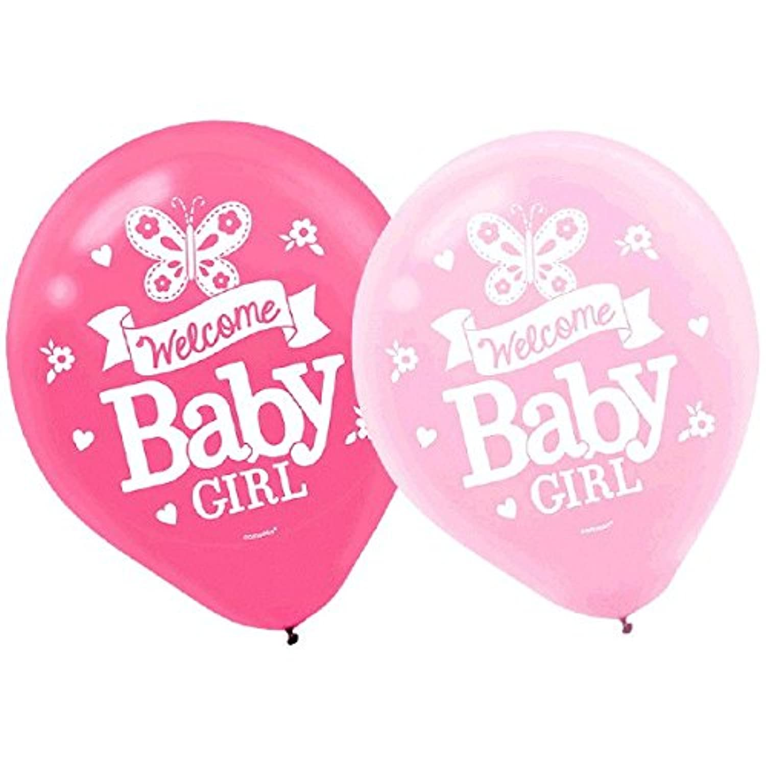 Amscan Appealing Welcome Little One Girl Printed Latex Balloonsベビーシャワーパーティーデコレーション、12インチ、ピンク/ホワイト/グリーン/ブルー