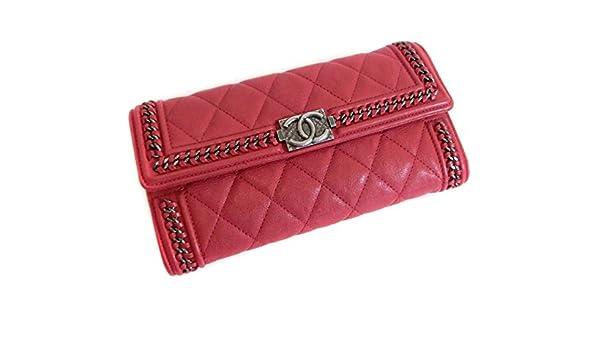 cd73a97e9922 Amazon | シャネル ボーイシャネル チェーンアラウンドフラップ 二つ折り長財布 ココマーク ラムスキン レッド(赤)×ガンメタ金具 [中古]  | CHANEL(シャネル) | 財布