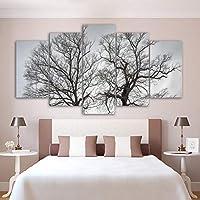 MUASYG 5キャンバス絵画 5ピースプリント風景ツリー絵画リビングルームの装飾プリントポスター写真キャンバス絵画家の装飾-フレーム