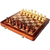 Premium Kameations 25cm x 25cm Chess Set - Best Handmade Wooden Rosewood 25cm x 25cm Foldable Magnetic Chess Game Board with Storage Slots. 100% Satisfaction Guarantee