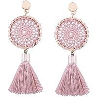 Niome Nets Weaving Bohemia Tassels Earrings Women Ethnic Long Drop Ear Stud 7 Colors