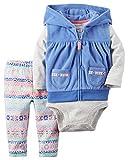 Carter's(カーターズ) ベビー ガールズ フリース ベスト / ボディスーツ / ロングパンツ 3点セット (ブルー / ネイティブ柄) Baby Girls' 3-Piece Vest Bodysuit & Pants Set (24M(90))