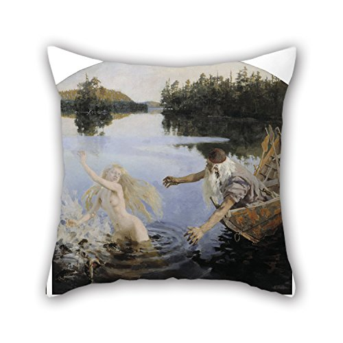 Bestdecorhouse Oil Painting Akseli Gallen-Kallela - Aino Myth, Triptych Throw Pillow Case ,best For Him,lover,sofa,monther,living Room,gril Friend 16 X 16 Inches / 40 By 40 Cm(twice Sides)