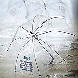 JKM 大きい 透明ジャンプ傘 ネイビー 60cm×8本骨 耐風グラスファイバー骨 ビニール傘