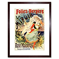 Theatre Stage Folies Bergere Mirror Paris France Advert Framed Wall Art Print