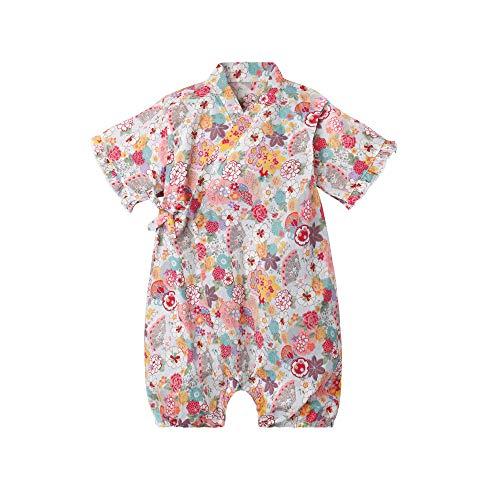 0a14031c74a5c ベビー服 ロンパース半袖 浴衣 甚平 女の子 夏 前開き 子供服 綿 カバーオール 赤ちゃん 花柄