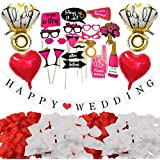 結婚式 ガーランド フォトプロップス HAPPY WEDDING 花びら バルーン 写真撮影 飾り付け 簡単に作れる J037H