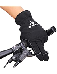 サイクリング グローブ 手袋 フルフィンガー式 冬グローブ スポーツ手袋 ナイロン 防風 防寒 滑り止め ブラック