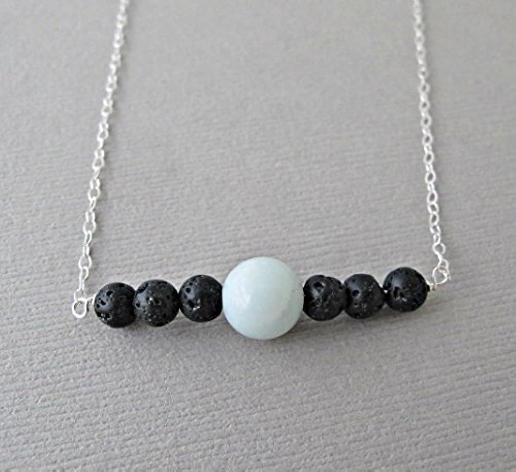 キャンバス霜学生Blue Chalodony Lava Pendant Essential Oil Necklace Diffuser Aromatherapy - Simple Minimalist Lava Bead Diffuser...
