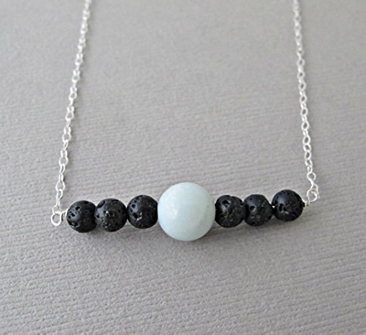 湿気の多い食物レギュラーBlue Chalodony Lava Pendant Essential Oil Necklace Diffuser Aromatherapy - Simple Minimalist Lava Bead Diffuser...