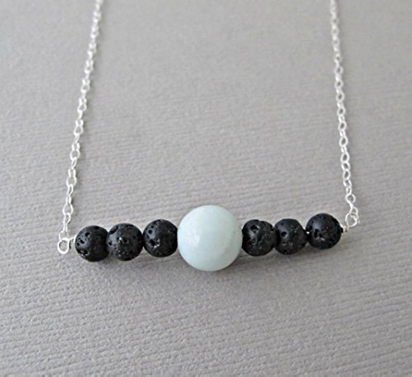 進捗文明分数Blue Chalodony Lava Pendant Essential Oil Necklace Diffuser Aromatherapy - Simple Minimalist Lava Bead Diffuser...