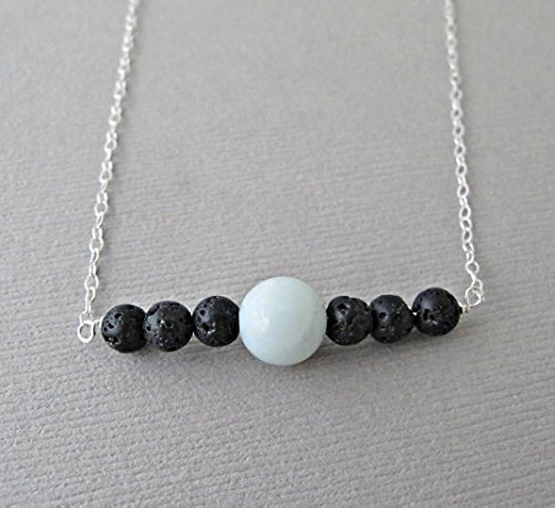 救援きれいに毛細血管Blue Chalodony Lava Pendant Essential Oil Necklace Diffuser Aromatherapy - Simple Minimalist Lava Bead Diffuser...