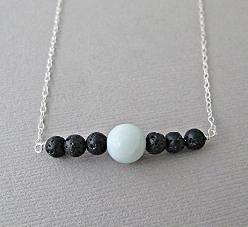 教室危険な取り出すBlue Chalodony Lava Pendant Essential Oil Necklace Diffuser Aromatherapy - Simple Minimalist Lava Bead Diffuser...