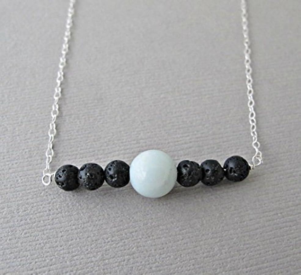 古くなった必要ないダブルBlue Chalodony Lava Pendant Essential Oil Necklace Diffuser Aromatherapy - Simple Minimalist Lava Bead Diffuser...