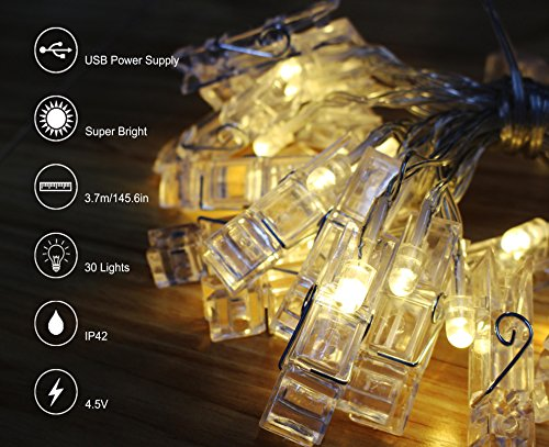 飾りライトLED イルミネーションライト 30写真クリップライト ストリングライト USB給電式 壁飾りイルミネーションライト 雰囲気作り 温白色 電飾