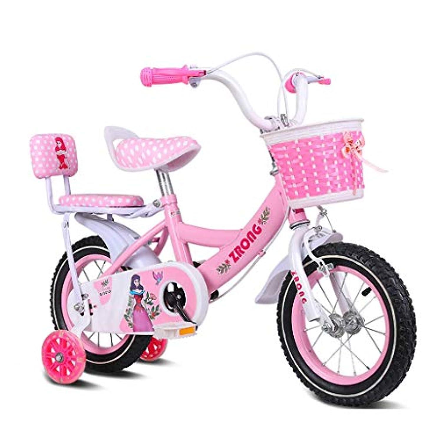 触手ホストオーラルYing-CC 自転車 子供自転車16インチの女の子バイク4-7歳ベビーカー高炭素鋼バイク、ピンク/パープル/ブルー子供の自転車(カラー:ピンク) 屋外スポーツ