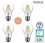 Venus LED 電球 口金E26 4W 調光対応 クリアタイプ(電球色) 透明ガラス インテリア照明 暖かい白(2700K)ホーム照明 器具装飾用 (4個入)