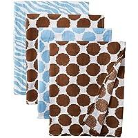 Ikat Blue/Chocolate Swaddling Muslin Blankets set of 4 by Bacati
