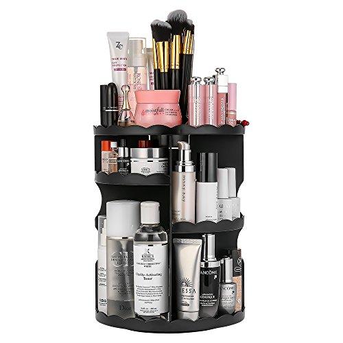 Jerrybox コスメ収納ボックス 化粧品収納ボックス 360度回転 化粧品ケース メイクボックス (フチ型, ブラック)