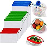 Reusable Mesh Produce Bags Premium Washable Eco Friendly Bags with Tare Weight on Tags for Grocery Shopping Storage, Fruit, V