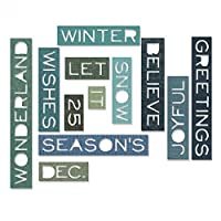 Sizzix 661600 Thinlits Die Set Holiday Words Thin by Tim Holtz (12-Pack) [並行輸入品]