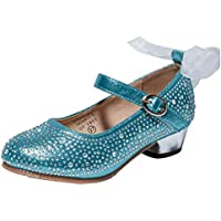 Naisidier Girls Dance Shoes PU Shiny Rhinestone Mary Jane Shoes with Bowknot Decoration and Low Heel for Party and Prom
