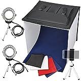 FOSITAN 撮影ボックス 撮影ブース 写真撮影キット 40*40*40cm 2*リングLEDライト搭載 カメラスタンド 2*スタンドライト 4色背景布 3種類のディフューザー 折り畳み 携帯型 バックグラウンドバッグ付き