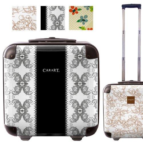 ナチュラルフラワースーツケース/キャラート/アートスーツケース/ベーシッククイーン/ジッパー式/2輪/国内旅行/機内持込可能/ホワイト 小花 レースブラック/CRB01-J00064-7-8